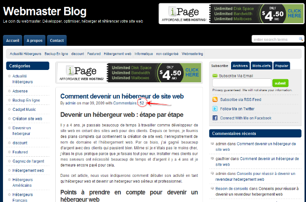 commentaire wordpress